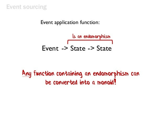 Event sourcing Any function containing an endomorphism can be converted into a monoid! Event application function: Is an e...