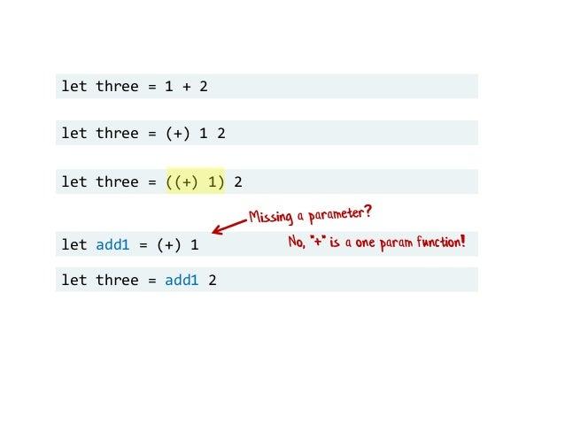"let three = 1 + 2 let three = (+) 1 2 let three = ((+) 1) 2 let add1 = (+) 1 let three = add1 2 No, ""+"" is a one param fun..."