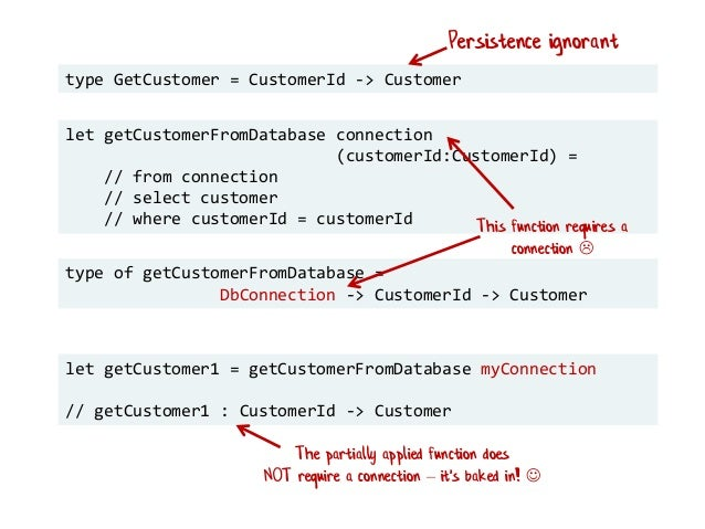 type GetCustomer = CustomerId -> Customer let getCustomerFromDatabase connection (customerId:CustomerId) = // from connect...