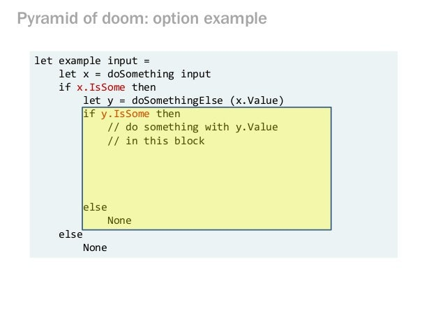 Pyramid of doom: option example let example input = let x = doSomething input if x.IsSome then let y = doSomethingElse (x....