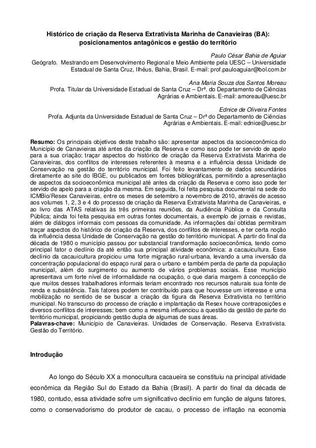 Histórico de criação da Reserva Extrativista Marinha de Canavieiras (BA):                 posicionamentos antagônicos e ge...