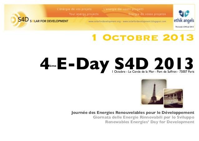 Partenaire Officiel 2013                1 Octobre 20134 E-Day S4D 2013 ème                          1 Octobre - Le Cercle d...