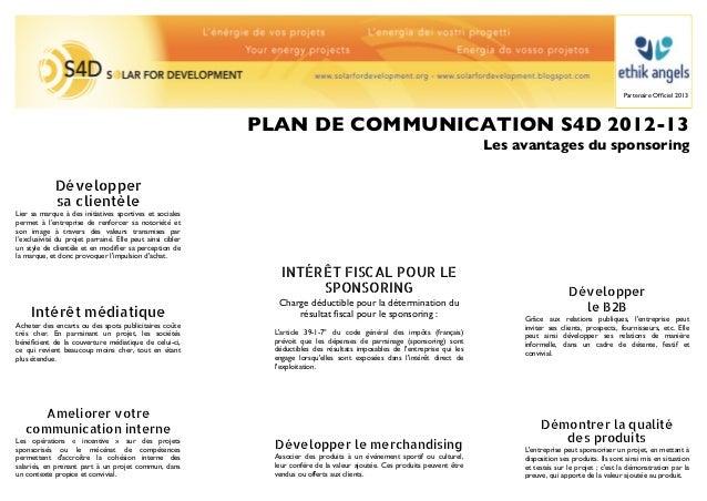 Partenaire Officiel 2013                                                           PLAN DE COMMUNICATION S4D 2012-13       ...