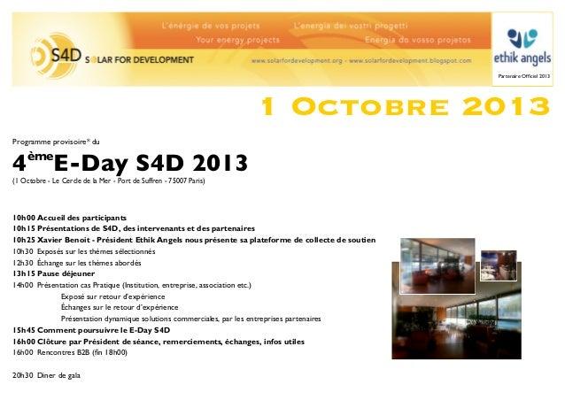 Partenaire Officiel 2013                                                                    1 Octobre 2013Programme proviso...
