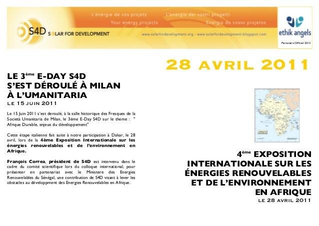 Partenaire Officiel 2013                                                                          28 avril 2011LE 3ème E-DA...