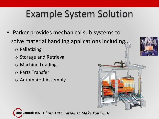 Plant Automation To Make You Sm;)e Example System Solution • Parker provides mechanical sub-systems to solve material hand...