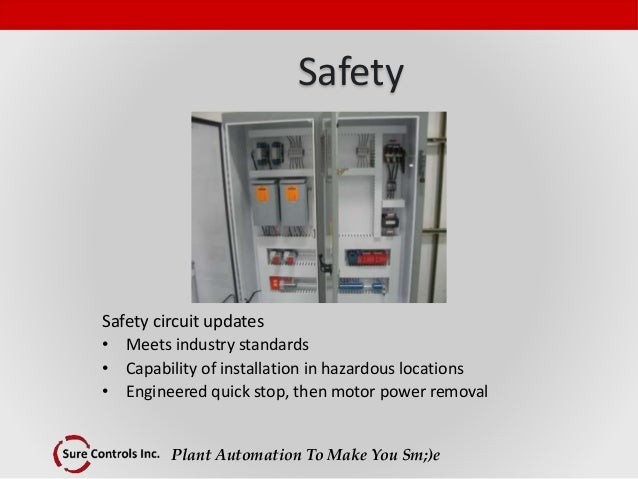 Plant Automation To Make You Sm;)e Safety Safety circuit updates • Meets industry standards • Capability of installation i...