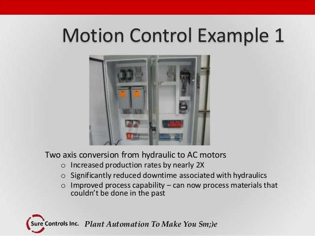 Plant Automation To Make You Sm;)e Motion Control Example 1 Two axis conversion from hydraulic to AC motors o Increased pr...