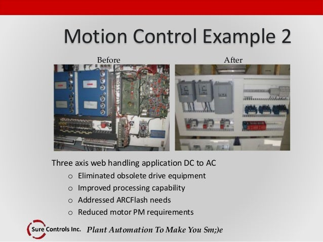 Plant Automation To Make You Sm;)e Motion Control Example 2 Three axis web handling application DC to AC o Eliminated obso...