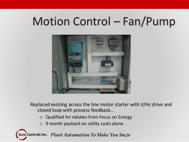 Plant Automation To Make You Sm;)e Motion Control – Fan/Pump Replaced existing across the line motor starter with V/Hz dri...