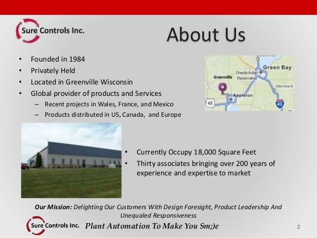 Plant Automation To Make You Sm;)e About Us • Founded in 1984 • Privately Held • Located in Greenville Wisconsin • Global ...