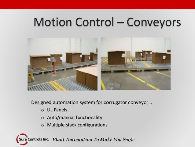 Plant Automation To Make You Sm;)e Motion Control – Conveyors Designed automation system for corrugator conveyor… o UL Pan...