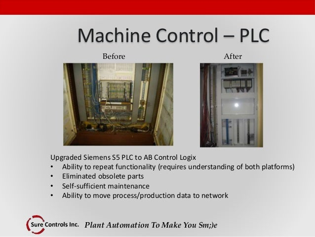 Plant Automation To Make You Sm;)e Machine Control – PLC Upgraded Siemens S5 PLC to AB Control Logix • Ability to repeat f...