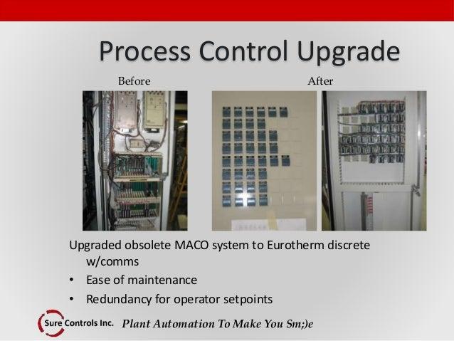 Plant Automation To Make You Sm;)e Process Control Upgrade Upgraded obsolete MACO system to Eurotherm discrete w/comms • E...