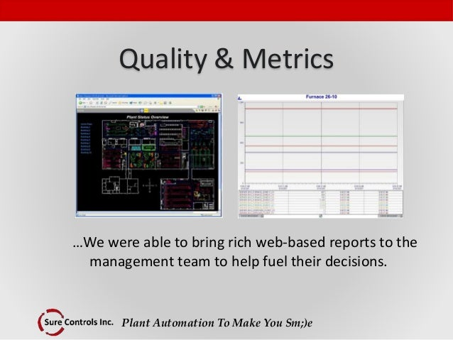 Plant Automation To Make You Sm;)e Quality & Metrics …We were able to bring rich web-based reports to the management team ...