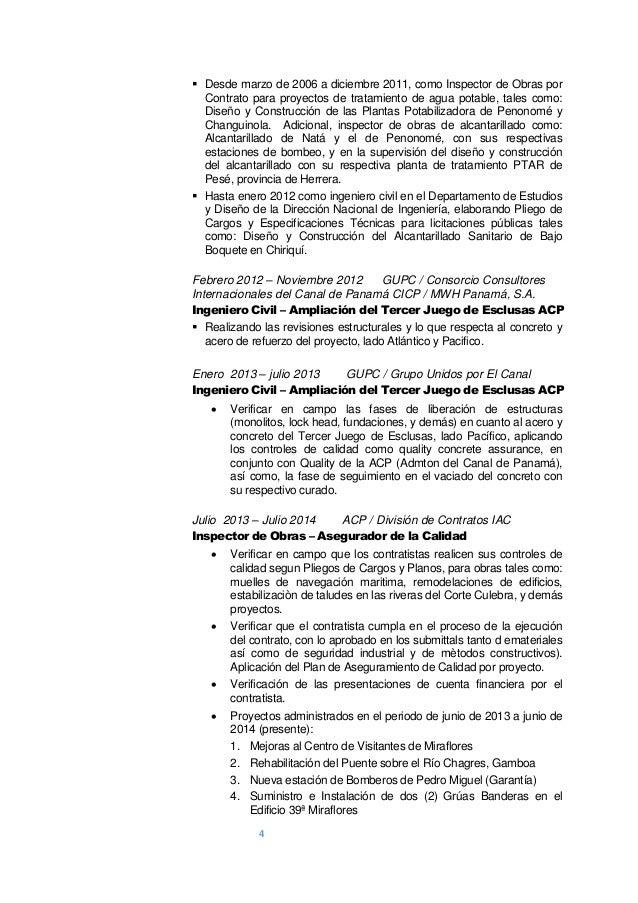 4 4  Desde marzo de 2006 a diciembre 2011, como Inspector de Obras por Contrato para proyectos de tratamiento de agua pot...