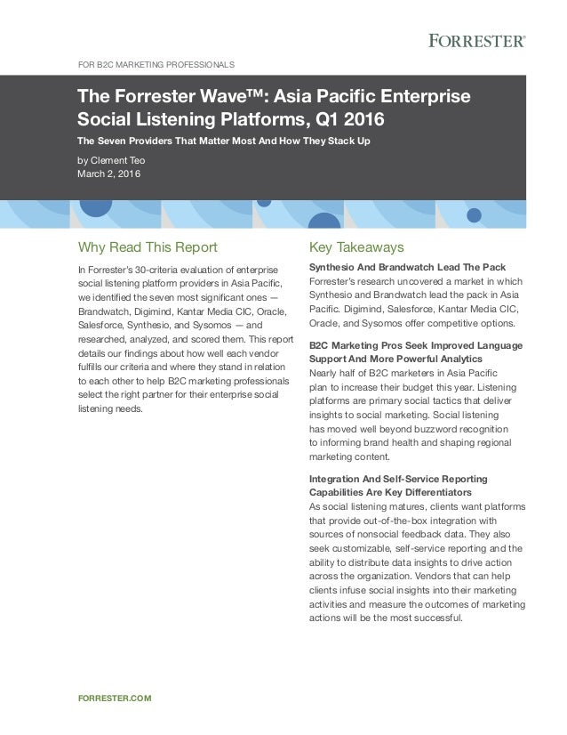 The Forrester Wave™: Asia Pacific Enterprise Social Listening Platforms, Q1 2016 The Seven Providers That Matter Most And ...