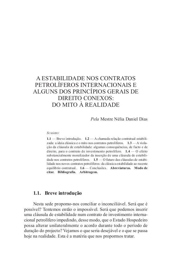 AEStAbILIDADEnOSCOntRAtOS PEtROLíFEROSIntERnACIOnAISE ALGUnSDOSPRInCíPIOSGERAISDE DIREItOCOnEXOS: DOMItOÀREAL...