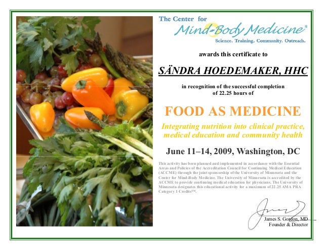 Food As Medicine Certificate of Completion