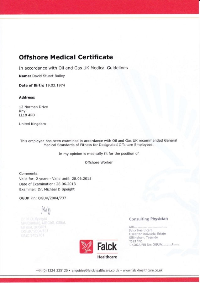 offshore medical cert