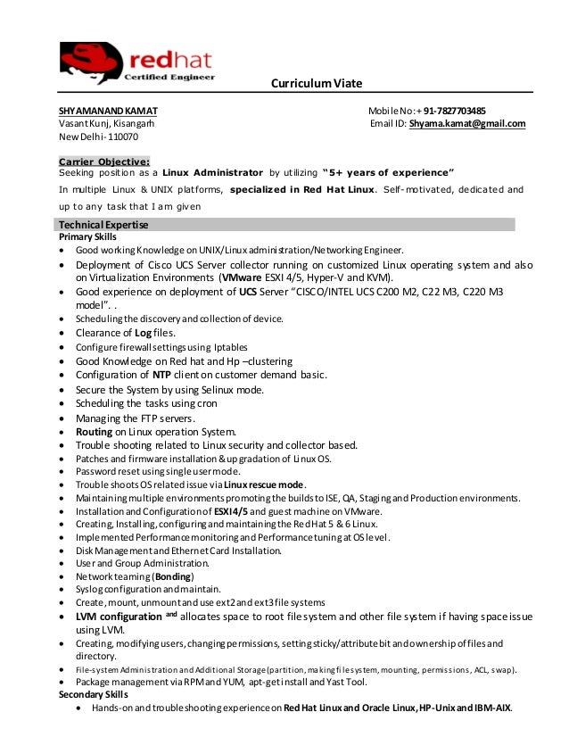 red hat linux system administration resume