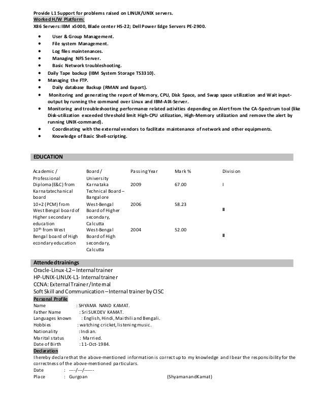 linux l1 resume