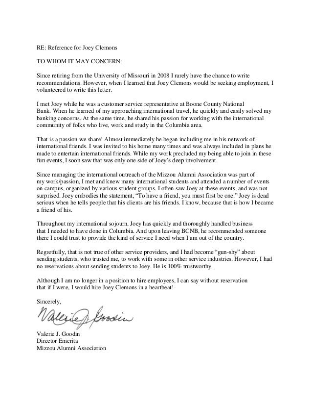 Val goodin recommendation letter val goodin recommendation letter re reference for joey clemons to whom it may concern since retiring from the expocarfo Choice Image