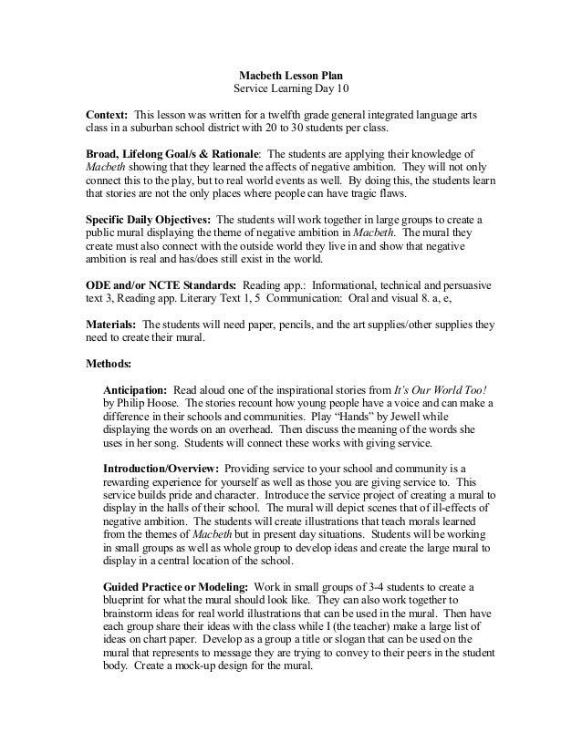 Macbeth theme essay plan