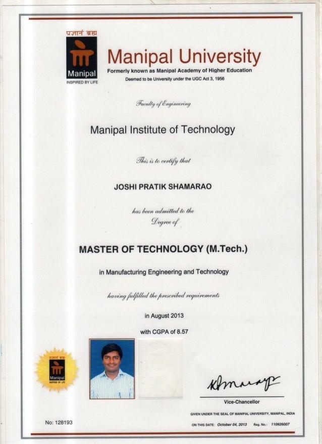 M Tech Certificate