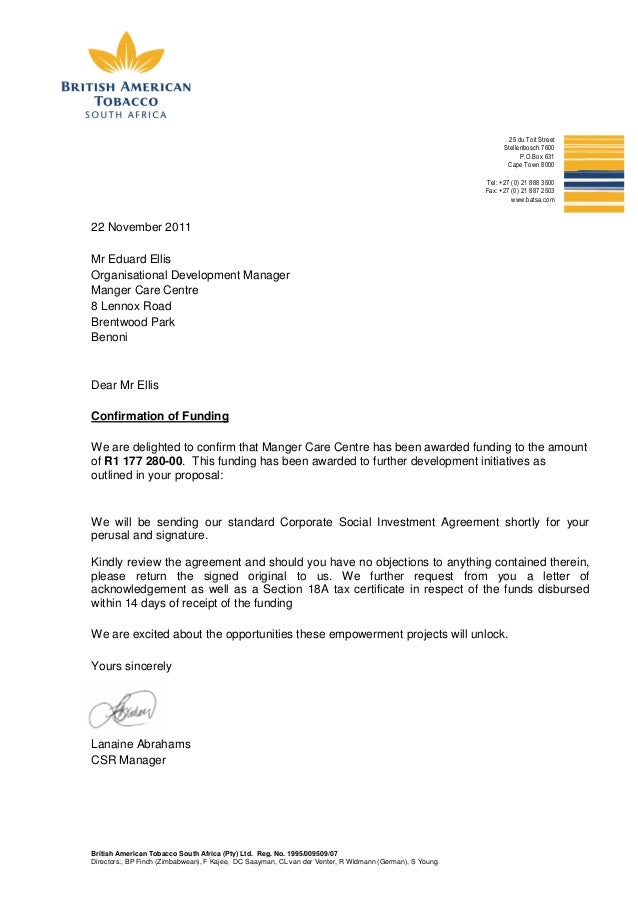 Funding Confirmation Letter  Manger Care Centre