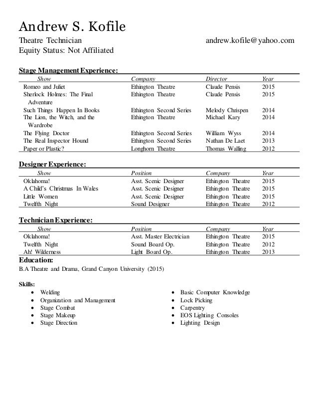 Technical Resume No References Tech Theatre