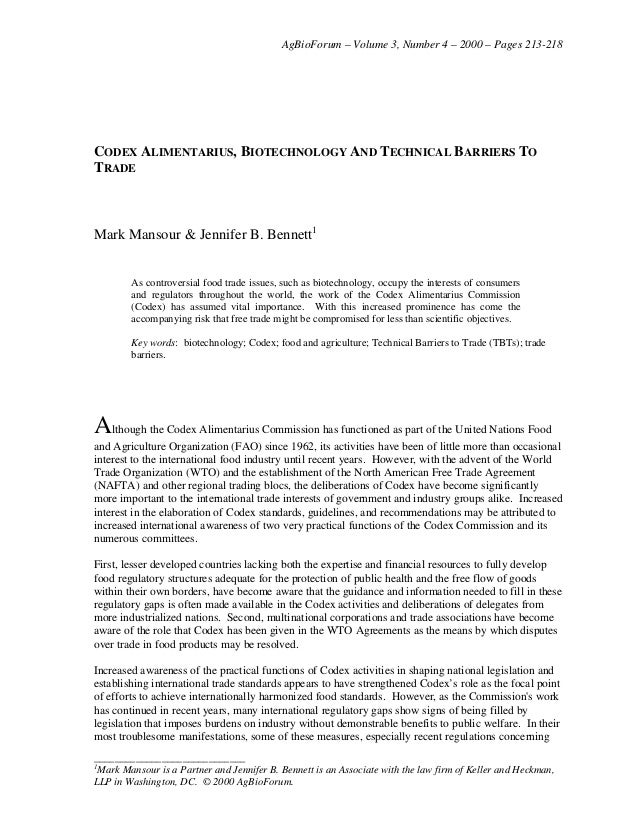 AgBioForum – Volume 3, Number 4 – 2000 – Pages 213-218 _____________________________ 1 Mark Mansour is a Partner and Jenni...