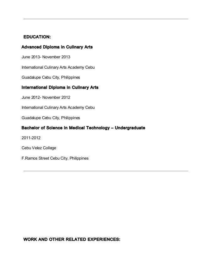 2. EDUCATION: Advanced Diploma In Culinary Arts ...