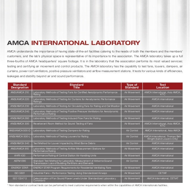 Air Movement And Control Association : Amca laboratory network