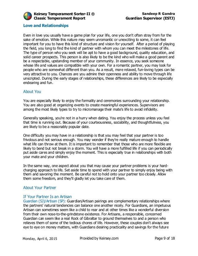 keirsey guardian essay