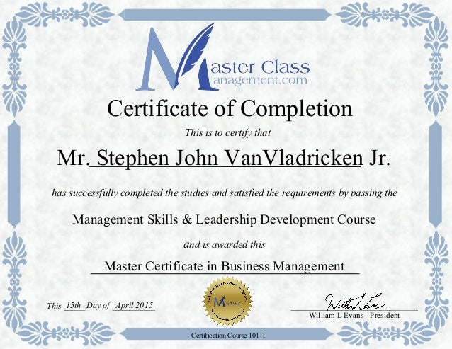 Certification--MasterClassManagement Certificate