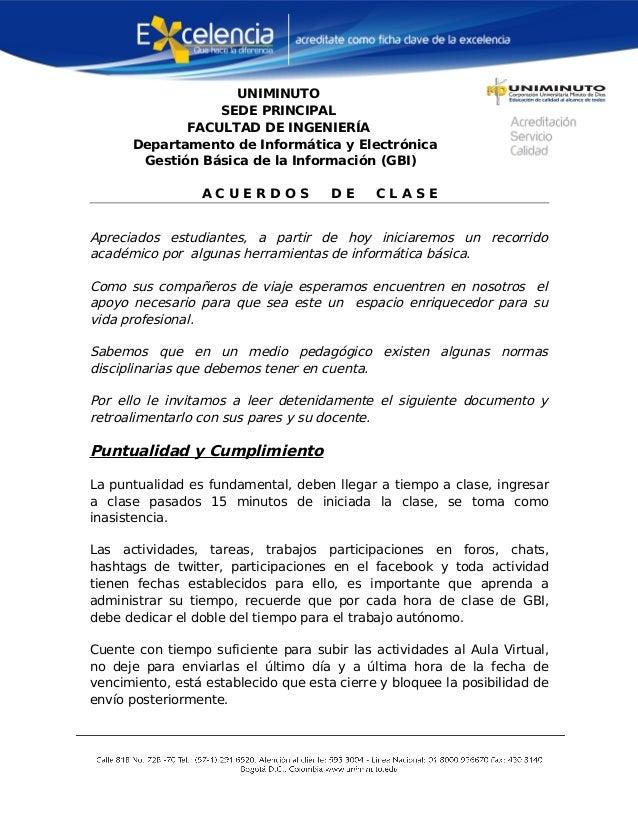 UNIMINUTO SEDE PRINCIPAL FACULTAD DE INGENIERÍA Departamento de Informática y Electrónica Gestión Básica de la Información...