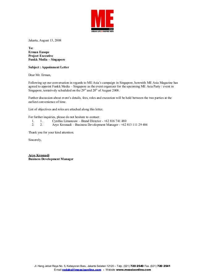 Appointment Letter   Funkk Media. Jakarta, August 13, 2008 To: Erman Eusope  Project Executive Funkk Media U2013 Singapore ...  Letter Of Appointment