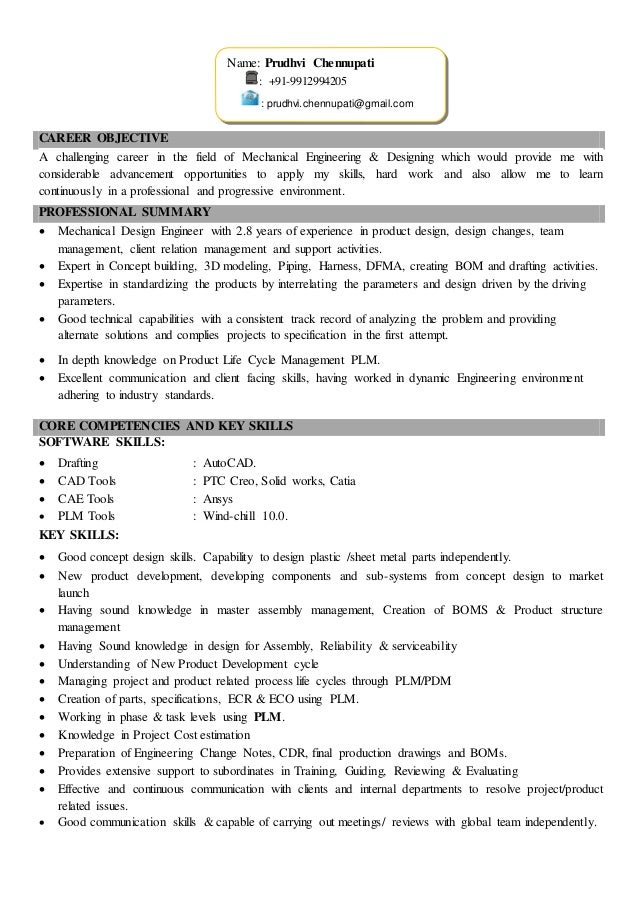CAREER OBJECTIVE A Challenging Career In The Field Of Mechanical  Engineering U0026 Designing Which Would Provide ...  Mechanical Designer Resume