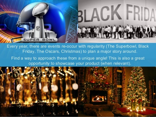 Every year, there are events re-occur with regularity (The Superbowl, Black  Friday, The Oscars, Christmas) to plan a majo...