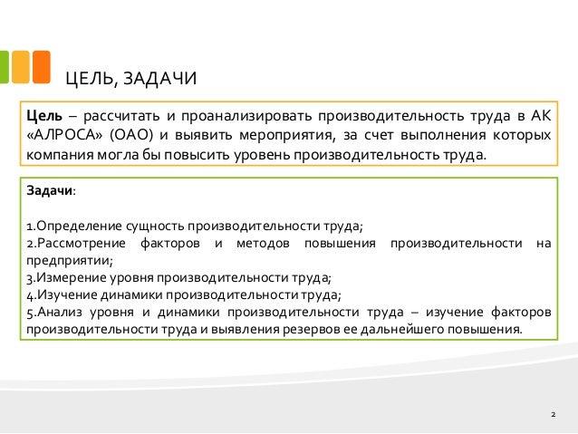 дипломная презентация по производительности труда