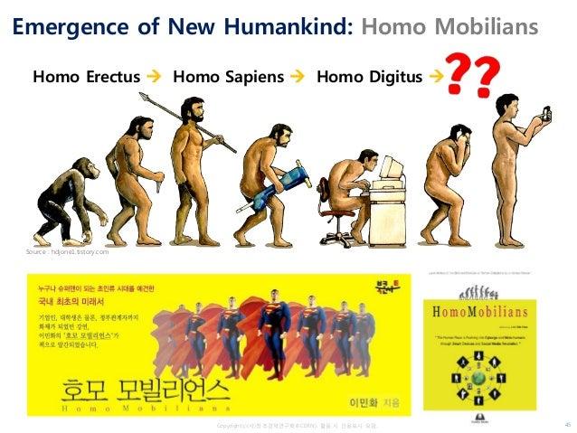 Copyrightⓒ(사)창조경제연구회(KCERN). 활용 시 인용표시 요망. Emergence of New Humankind: Homo Mobilians Source : hdjone1.tistory.com Homo Er...
