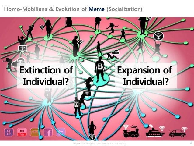 Copyrightⓒ(사)창조경제연구회(KCERN). 활용 시 인용표시 요망. Homo-Mobilians & Evolution of Meme (Socialization) Extinction of Individual? Ex...