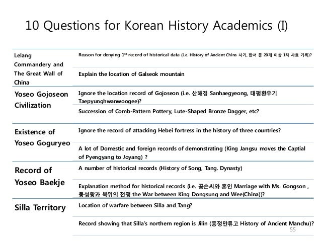 10 Questions for Korean History Academics (I) Lelang Commandery and The Great Wall of China Reason for denying 1st record ...
