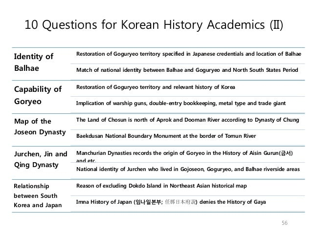 10 Questions for Korean History Academics (II) Identity of Balhae Restoration of Goguryeo territory specified in Japanese ...