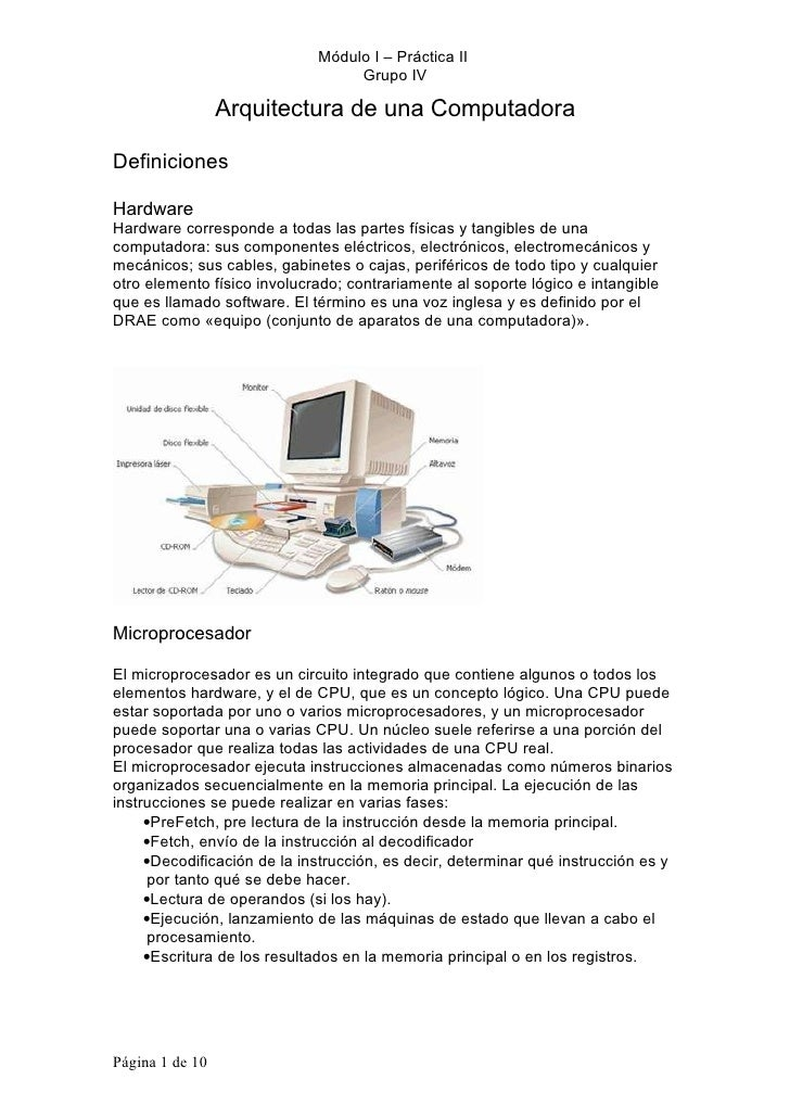 Módulo I – Práctica II                                   Grupo IV                   Arquitectura de una Computadora  Defin...