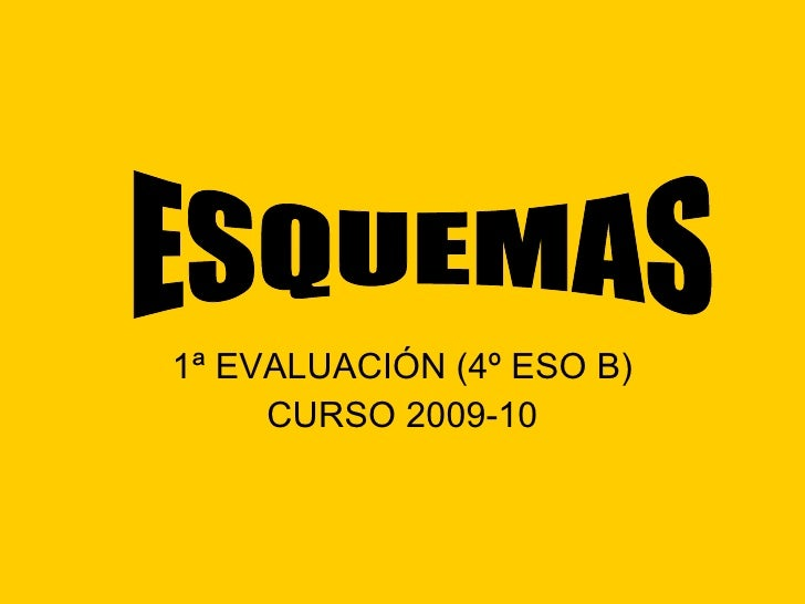 1ª EVALUACIÓN (4º ESO B) CURSO 2009-10 ESQUEMAS