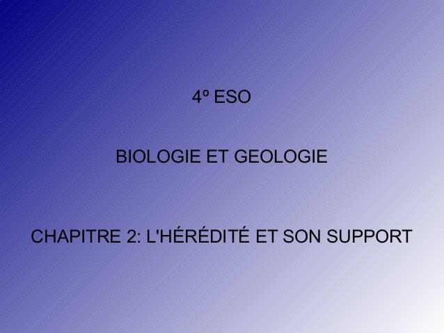4º ESO BIOLOGIE ET GEOLOGIE  CHAPITRE 2: L'HÉRÉDITÉ ET SON SUPPORT