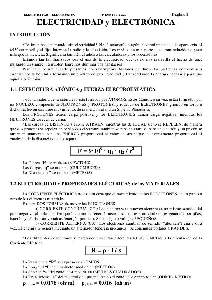 ELECTRICIDAD y ELECTRÓNICA                    4º ESO-IES Yaiza                          Página 1               ELECTRICIDA...