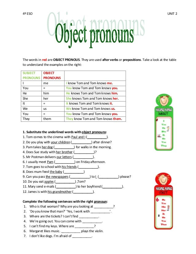 4 eso unit 2 object pronouns – Subject Pronoun Worksheets